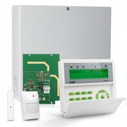 INTEGRA 32 RF pack, groen LCD bediendeel, IP module, RF module, draadloos magneetcontact en PIR