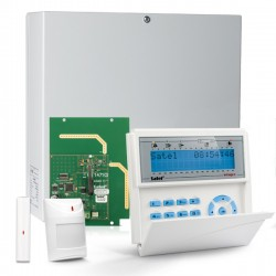 INTEGRA 32 RF pack met blauw LCD proximity bediendeel, RF module, draadloos magneetcontact en bewegingsmelder