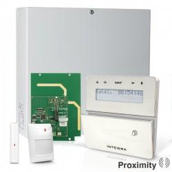 INTEGRA 32 RF pack met zilver INT-KLFR proximity LCD bediendeel, RF module, draadloos magneetcontact en bewegingsmelder