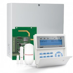 INTEGRA 32 RF pack met blauw LCD bediendeel, IP module, RF module, draadloze multifunctionele detector en PIR