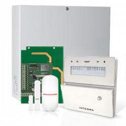 INTEGRA 32 RF pack met zilver INT-KLFR proximity LCD bediendeel, IP module, RF module, draadloze  detector en PIR