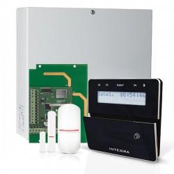 INTEGRA 32 RF pack met zwart INT-KLFR proximity LCD bediendeel, IP module, RF module, draadloze multifunctionele detector en PIR